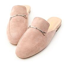 D+AF 馬銜釦絨料平底穆勒鞋