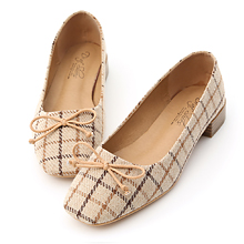D+AF 英式格紋方頭芭蕾娃娃鞋