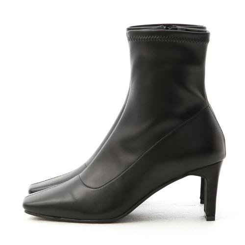 D+AF 復古方頭車線扁跟襪靴 黑色高跟襪靴