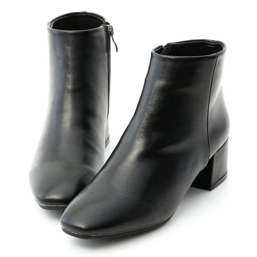 D+AF 俐落焦點.極簡素面方頭低跟短靴 黑色素面短靴