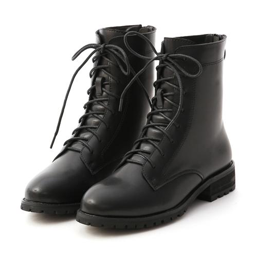 D+AF 俐落酷感.後拉鍊綁帶中筒馬汀靴 黑色綁帶靴 黑色馬丁靴推薦