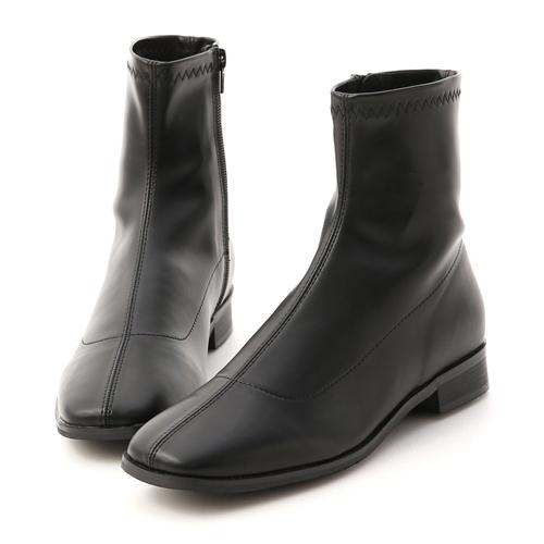 D+AF 定番焦點.中車線方頭低跟襪靴 黑色低跟短靴(襪靴)推薦