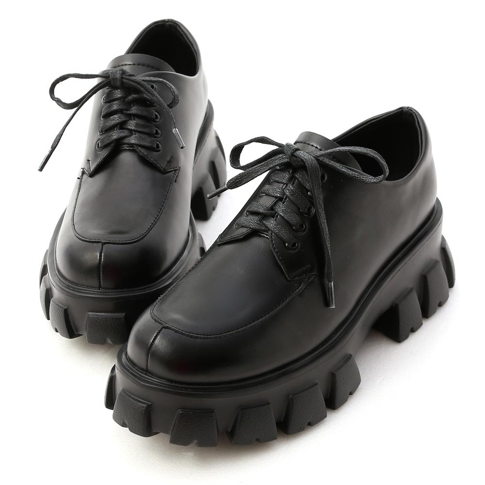 D+AF輕量鋸齒底綁帶牛津鞋 鬆糕鞋推薦 黑色厚底鬆糕鞋 厚底牛津鞋