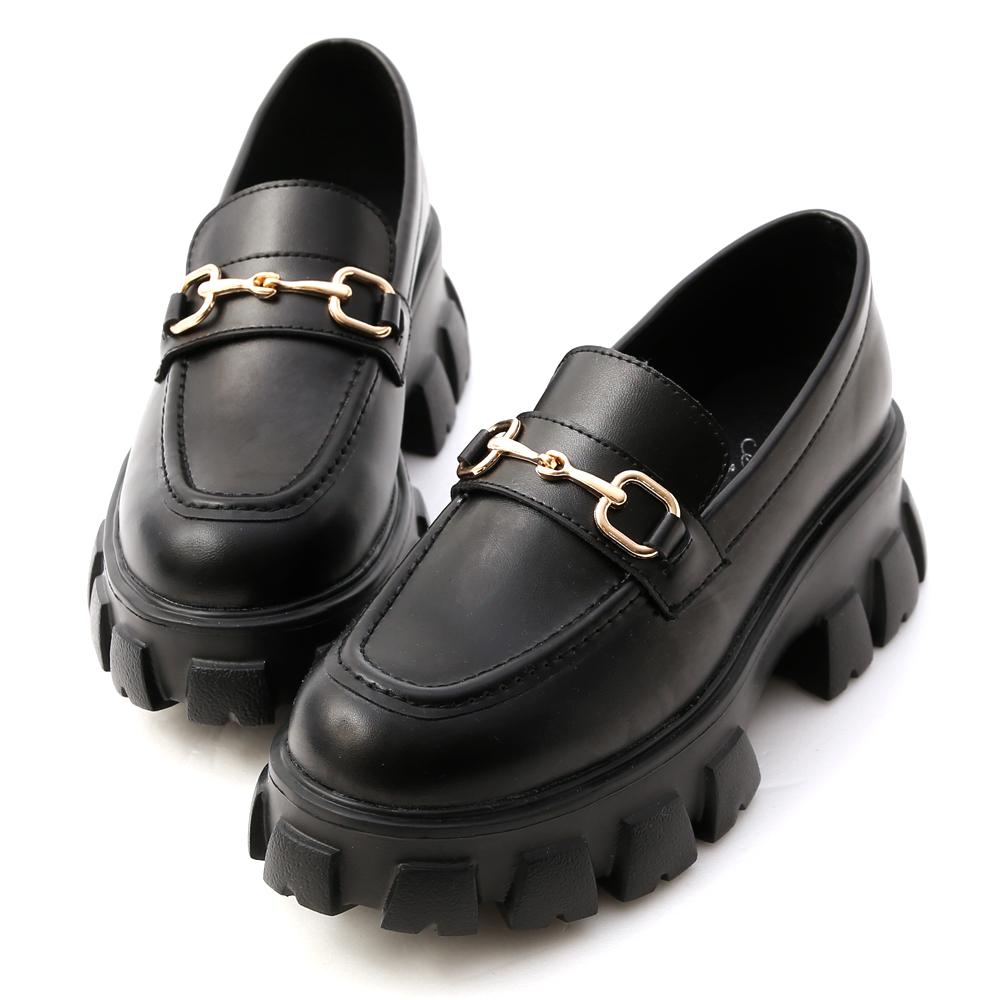 D+AF鋸齒底馬銜釦樂福鞋 黑色鬆糕鞋推薦 黑色厚底樂福鞋