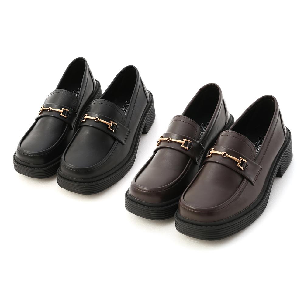 D+AF馬銜釦加厚底樂福鞋 鬆糕鞋推薦 黑色 咖啡色