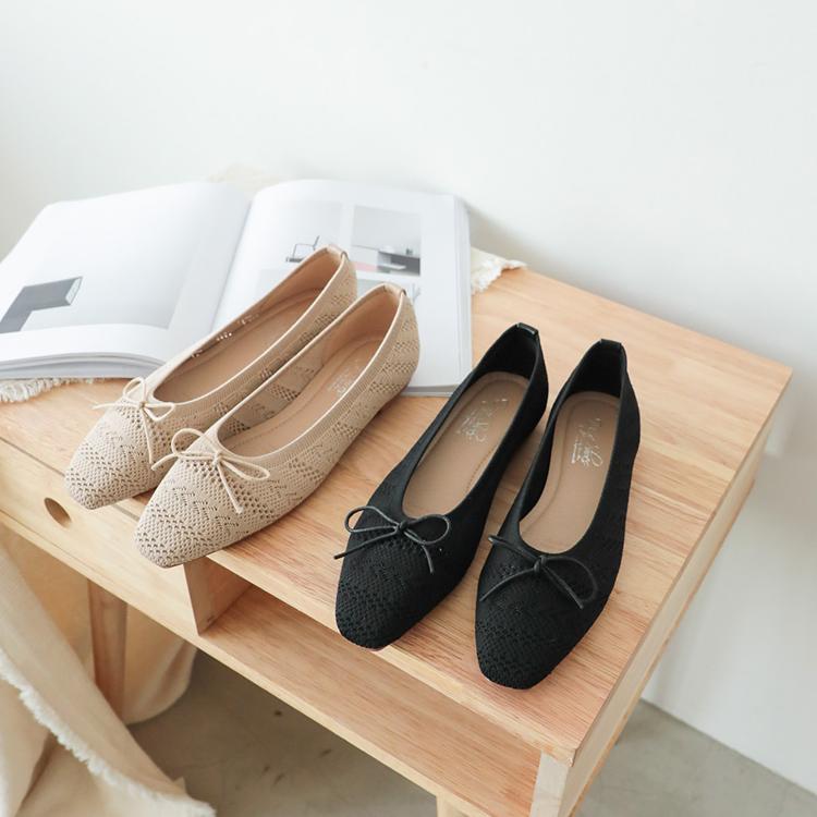D+AF花紋針織芭蕾娃娃鞋