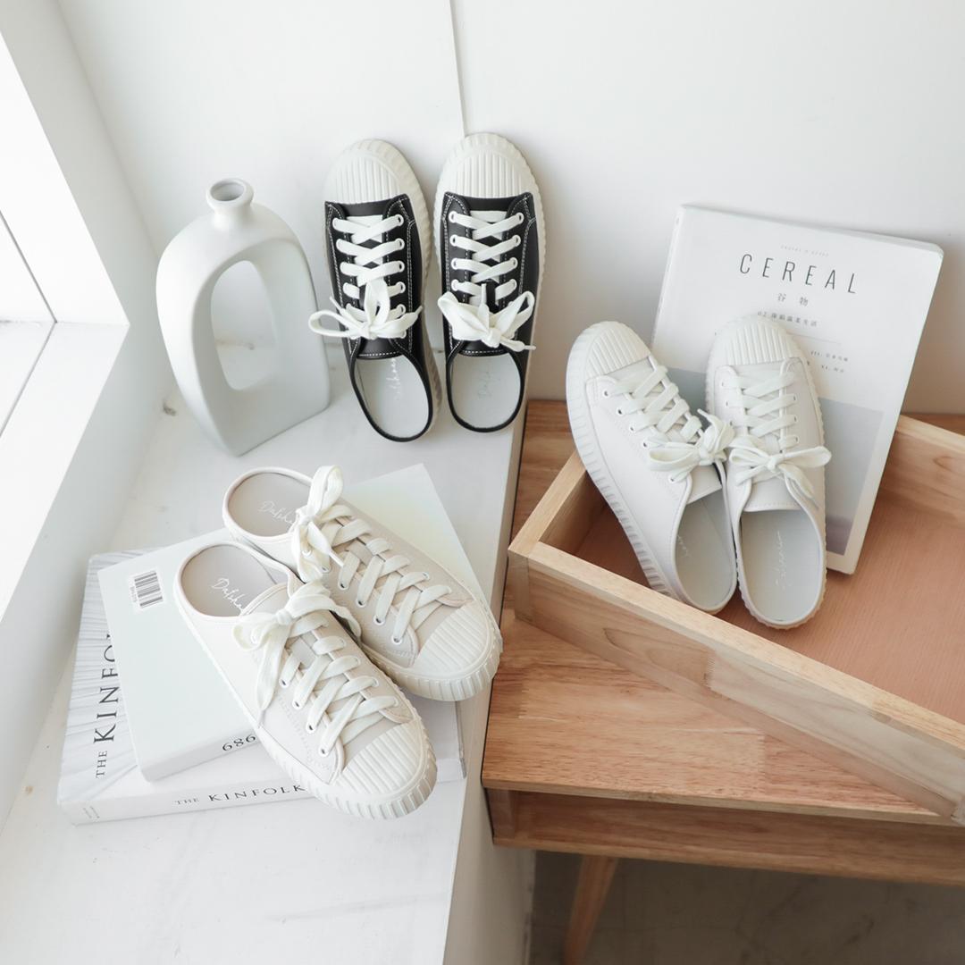 D+AF綁帶前包後空餅乾鞋 綁帶穆勒鞋
