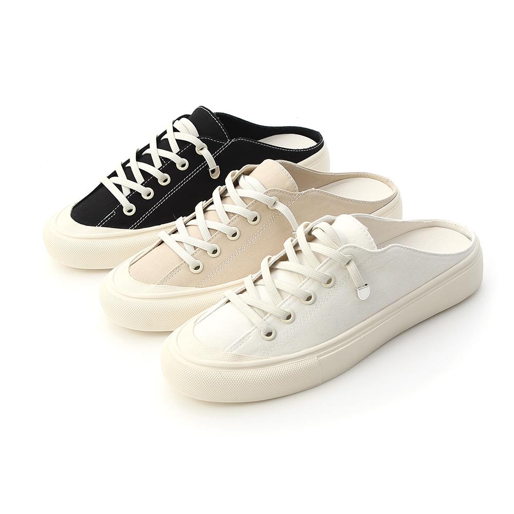 D+AF 休閒帆布穆勒鞋  前包後鏤空帆布鞋 三色可選