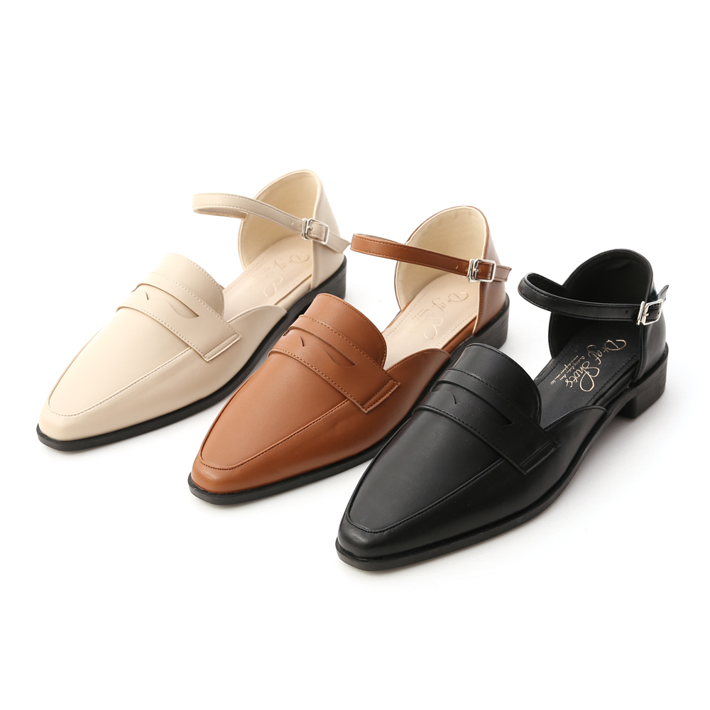 D+AF微尖頭踝繫帶樂福鞋 樂福鞋推薦
