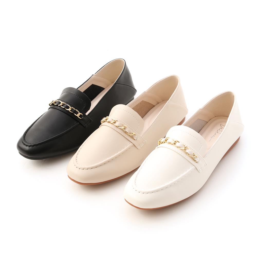 D+AF金屬鍊條可後踩樂福鞋 兩穿平底樂福鞋推薦
