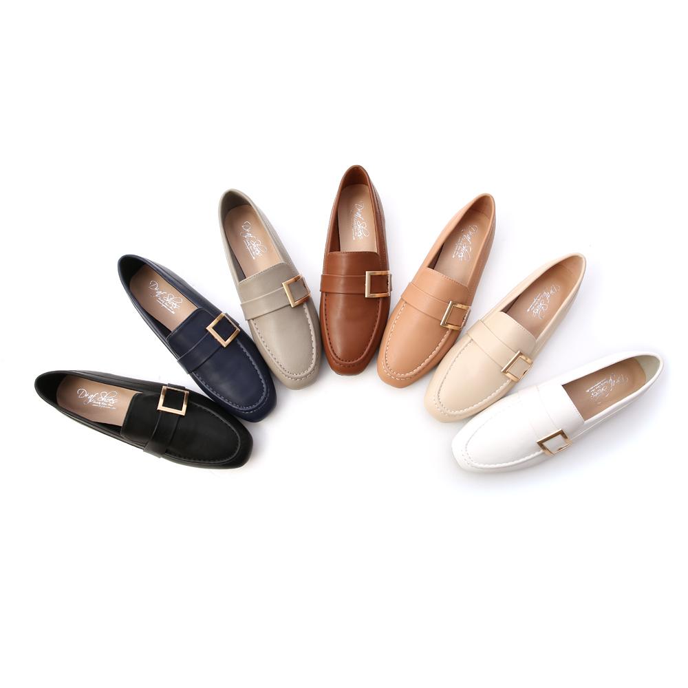 D+AF金屬大方釦平底樂福鞋 樂福鞋穿搭
