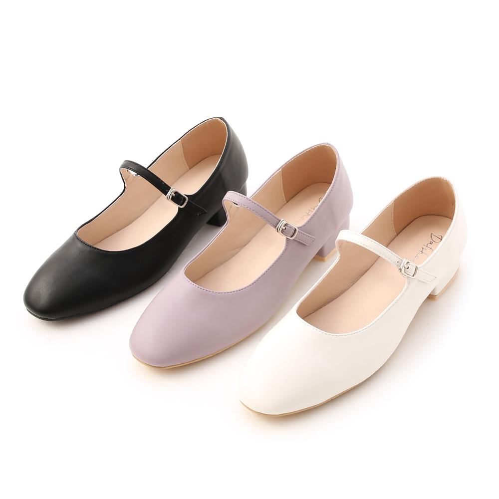 D+AF圓頭細帶低跟瑪莉珍鞋 早春流行瑪莉珍鞋推薦