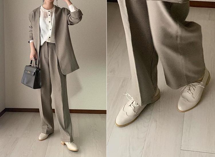 (@__hysaym)粗跟米白色牛津鞋穿搭