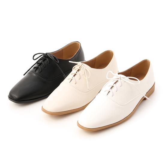 小方頭綁帶牛津鞋 黑色牛津鞋 米色牛津鞋 白色牛津鞋
