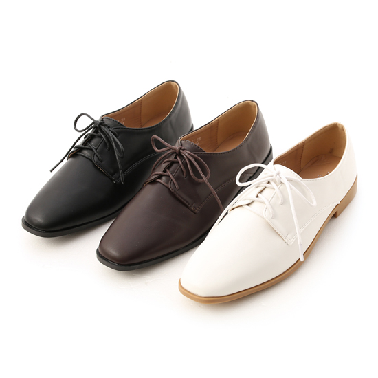 素面方頭綁帶牛津鞋推薦 黑色牛津鞋 白色牛津鞋 咖啡色牛津鞋