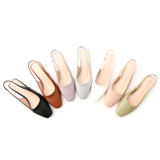 D+AF素面方頭後空低跟鞋 跟鞋 春季新款女鞋