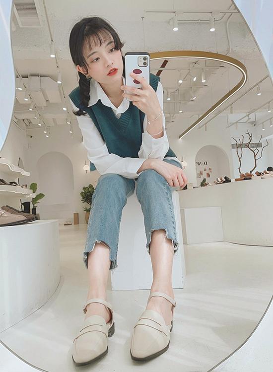 D+AF微尖頭踝繫帶樂福鞋穿搭 敦南門市店員樂福鞋穿搭示範