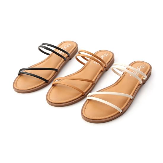 D+AF四條線Q軟墊平底涼鞋 舒適涼鞋推薦