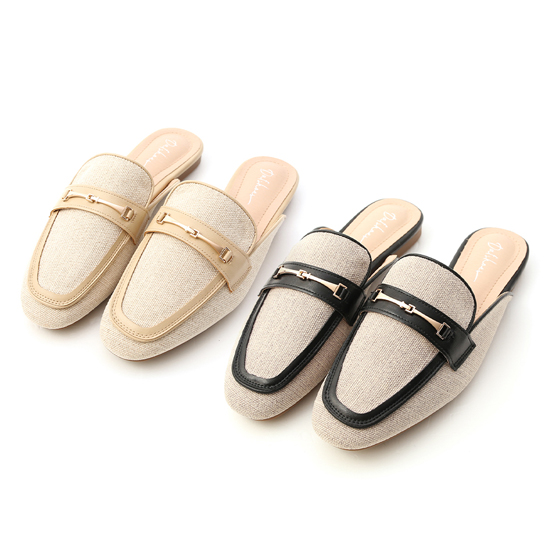 D+AF馬銜釦拼接平底穆勒鞋