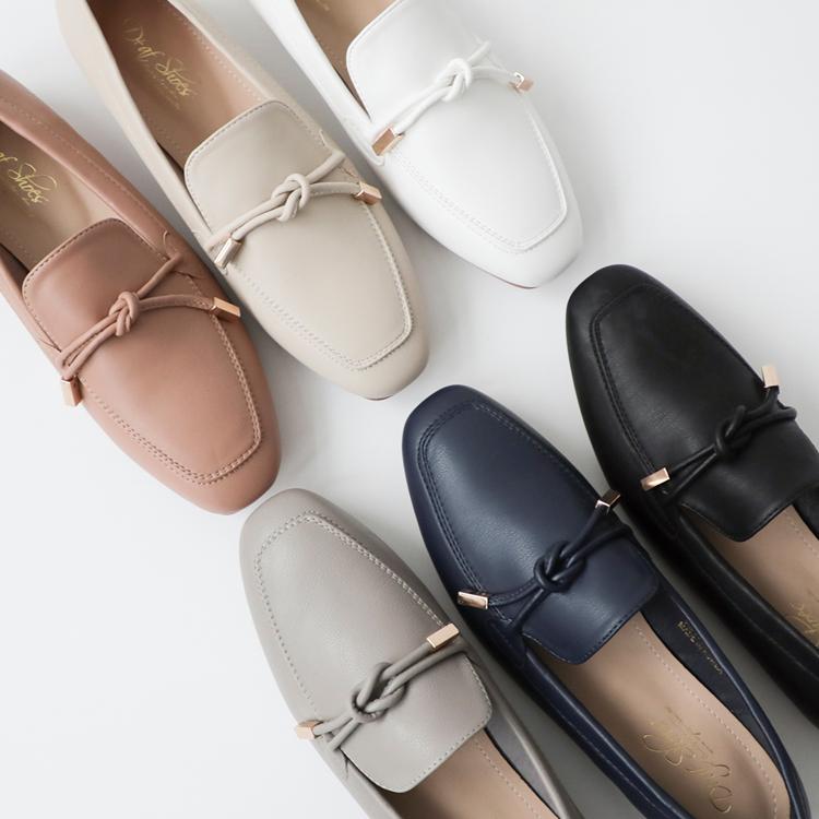 D+AF 樂福鞋穿搭美學 小金飾綁結柔軟樂福鞋 好感輕著