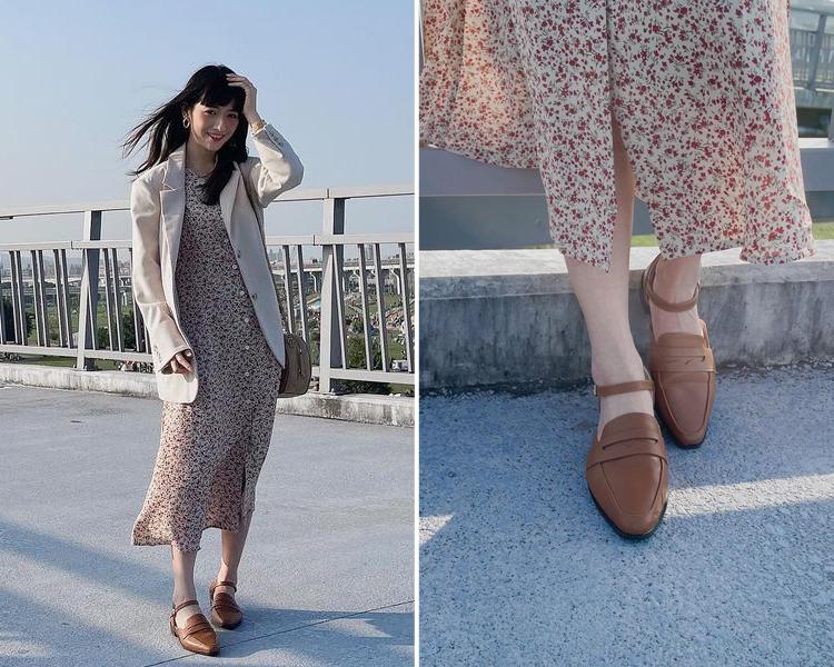 D+AF樂福鞋穿搭美學 低跟樂福鞋 微尖頭踝繫帶樂福鞋 小編穿搭