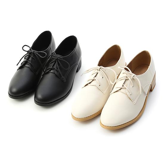 D+AF知性學院.素面綁帶木紋跟牛津鞋