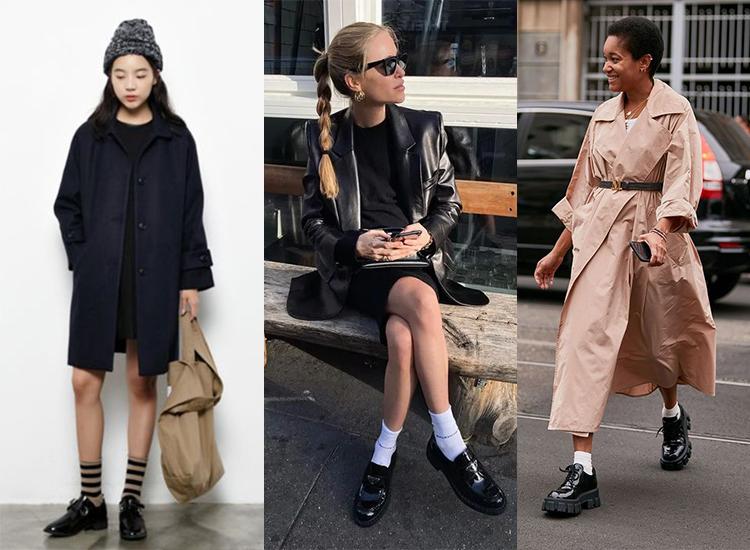 黑色樂福鞋穿搭 女 歐美 日系 黑色小皮鞋穿搭推薦