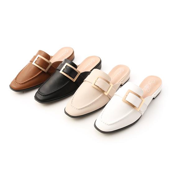 穆勒鞋推薦:質感大方釦低跟穆勒鞋