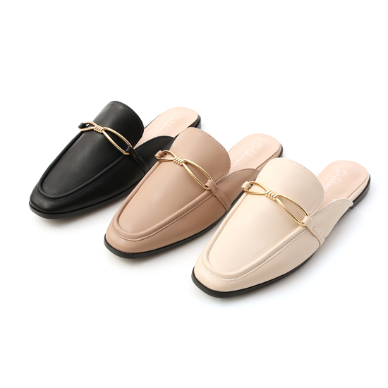 細緻金屬扭結穆勒鞋推薦 黑色穆勒鞋 米色穆勒鞋 奶茶色穆勒鞋