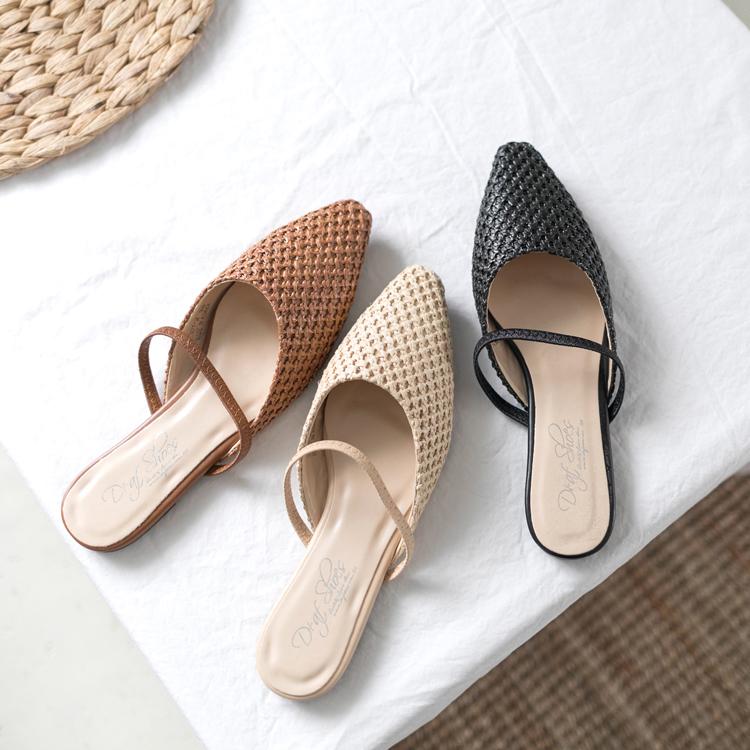 尖頭編織料平底穆勒鞋推薦 一鞋三穿 多種穿法 穆勒涼鞋