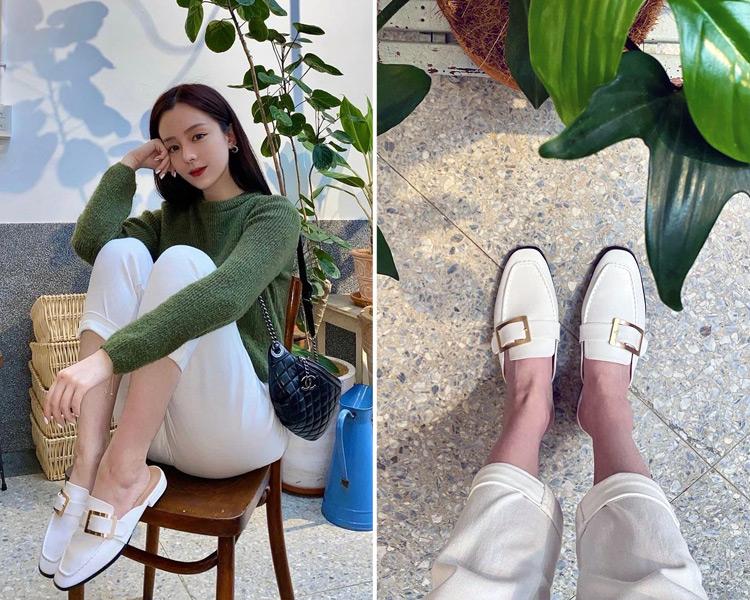 D+AF 2021小白鞋推薦鞋款 文青步調wenanchao白色穆勒鞋穿搭