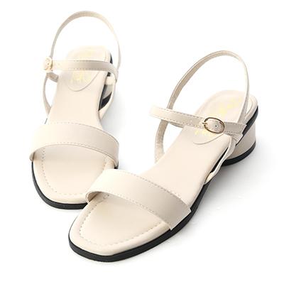D+AF 2021小白鞋推薦鞋款 韓國同步 一字繫帶白色涼鞋