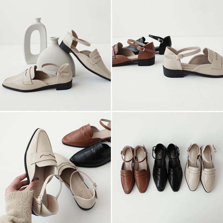 微尖頭踝繫帶樂福鞋