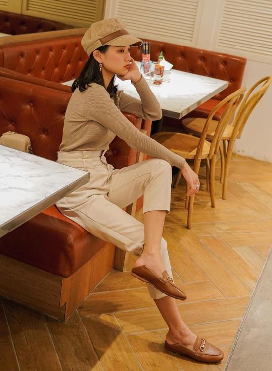 郭奕均Maggie樂福鞋穿搭 可後踩樂福鞋搭配 棕色樂福鞋後踩穿法