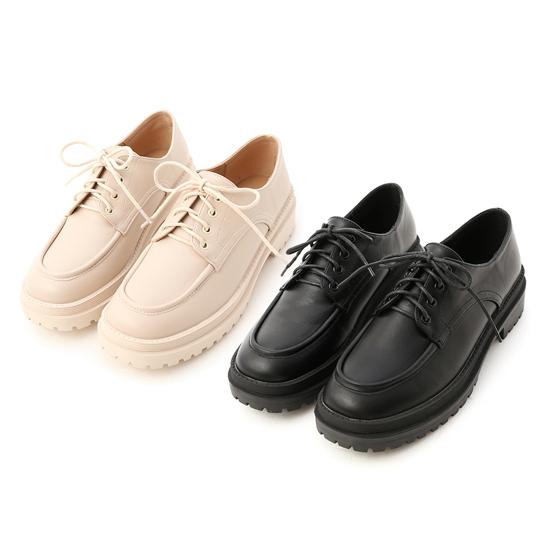 鬆糕底綁帶牛津鞋 米白色 黑色