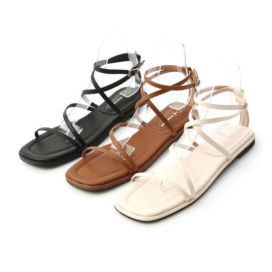 層次感交叉平底涼鞋 黑色 白色 棕色