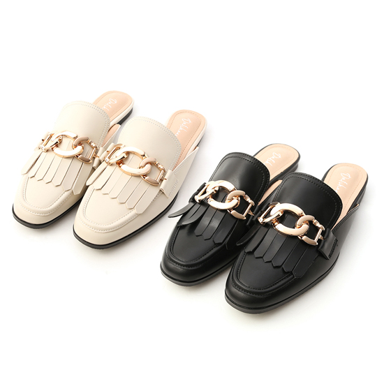 金屬環釦流蘇穆勒鞋 2色可選