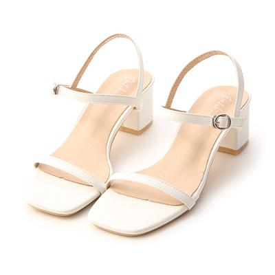 一字細帶方頭中跟涼鞋 白色一字涼鞋