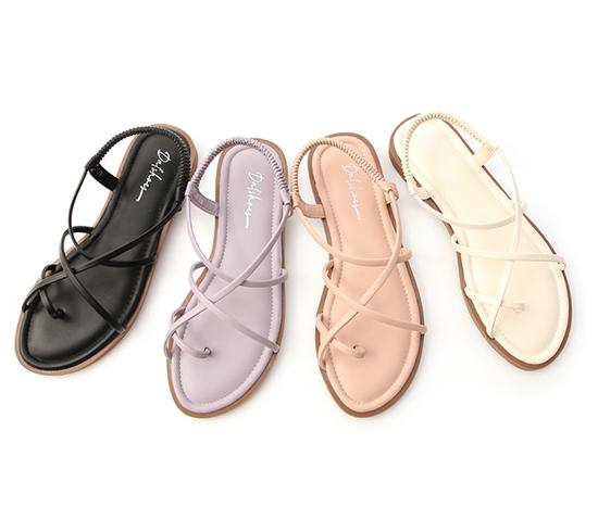 交叉細帶軟Q底涼鞋 四色可選