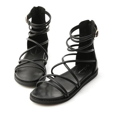 D+AF黑色羅馬涼鞋