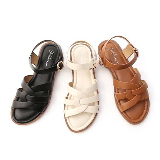 D+AF平底編織涼鞋 黑色 咖啡色 白色