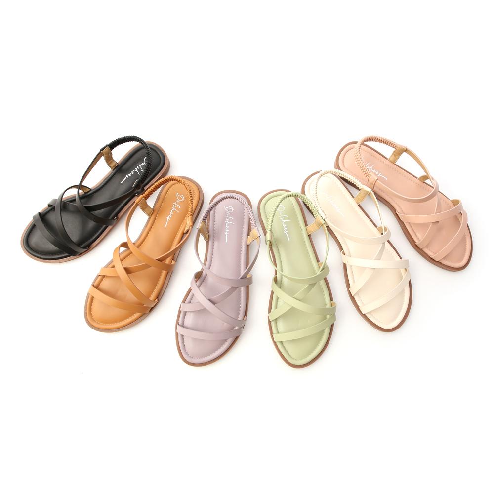 D+AF交叉細帶平底涼鞋 舒適好走涼鞋 多色可選