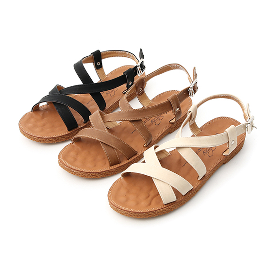 D+AF平底舒適涼鞋 黑色 咖啡色 白色