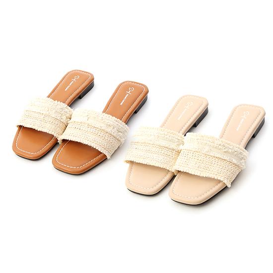 拇指外翻涼拖鞋推薦 草編抽鬚方頭平底拖鞋