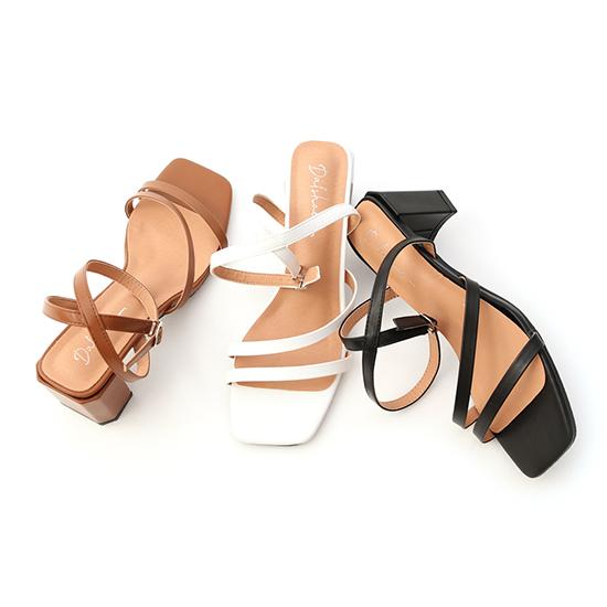 D+AF一字斜帶繫踝高跟涼鞋 涼鞋
