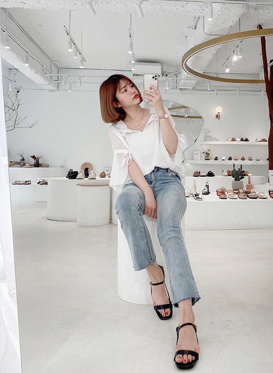 D+AF一字方頭橢圓跟涼鞋 涼鞋穿搭 韓系涼鞋 台北東區