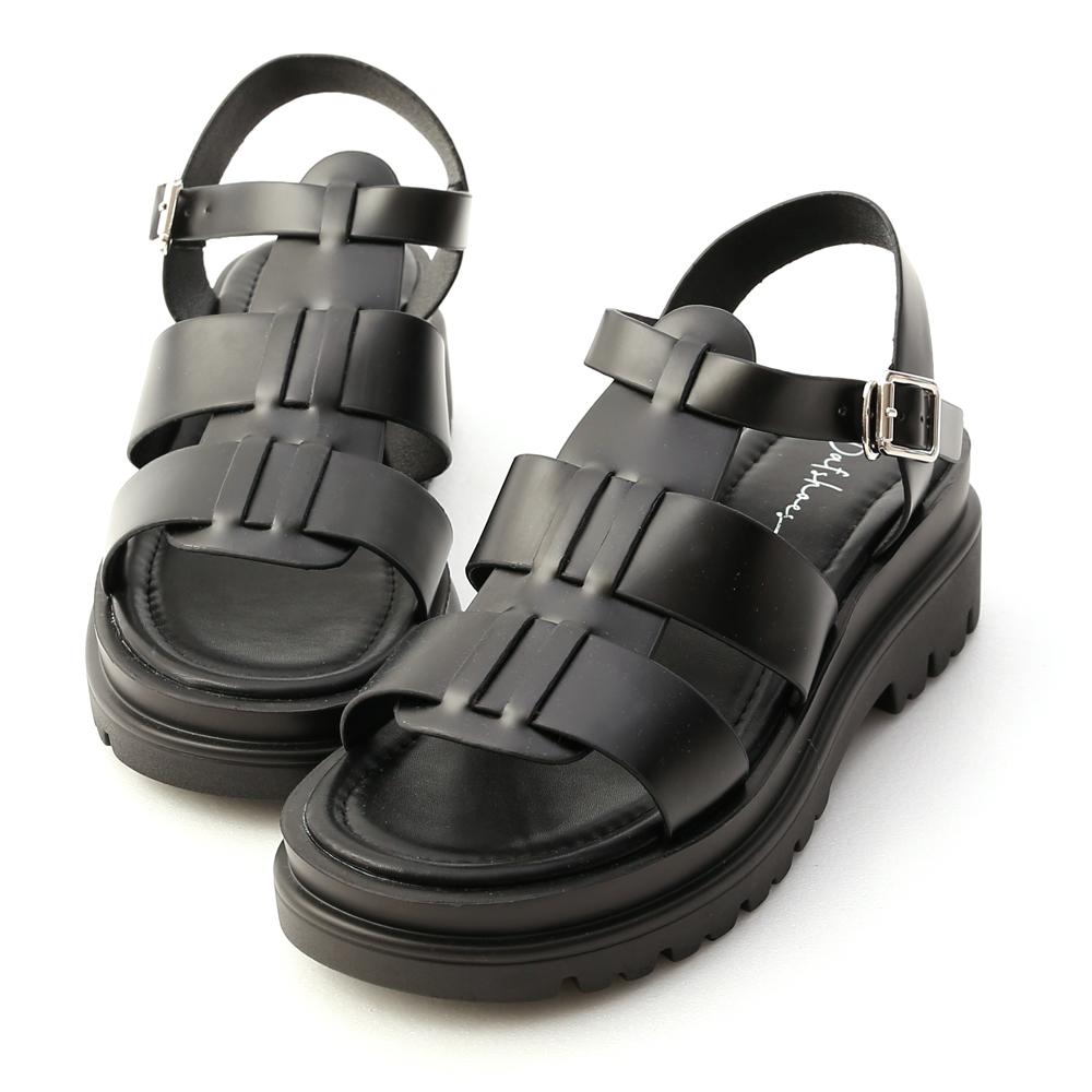 D+AF鬆糕底可後踩樂福鞋魚骨編織厚底羅馬涼鞋 黑色羅馬量鞋