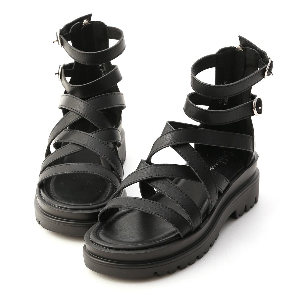D+AF交叉設計厚底羅馬涼鞋 黑色羅馬量鞋