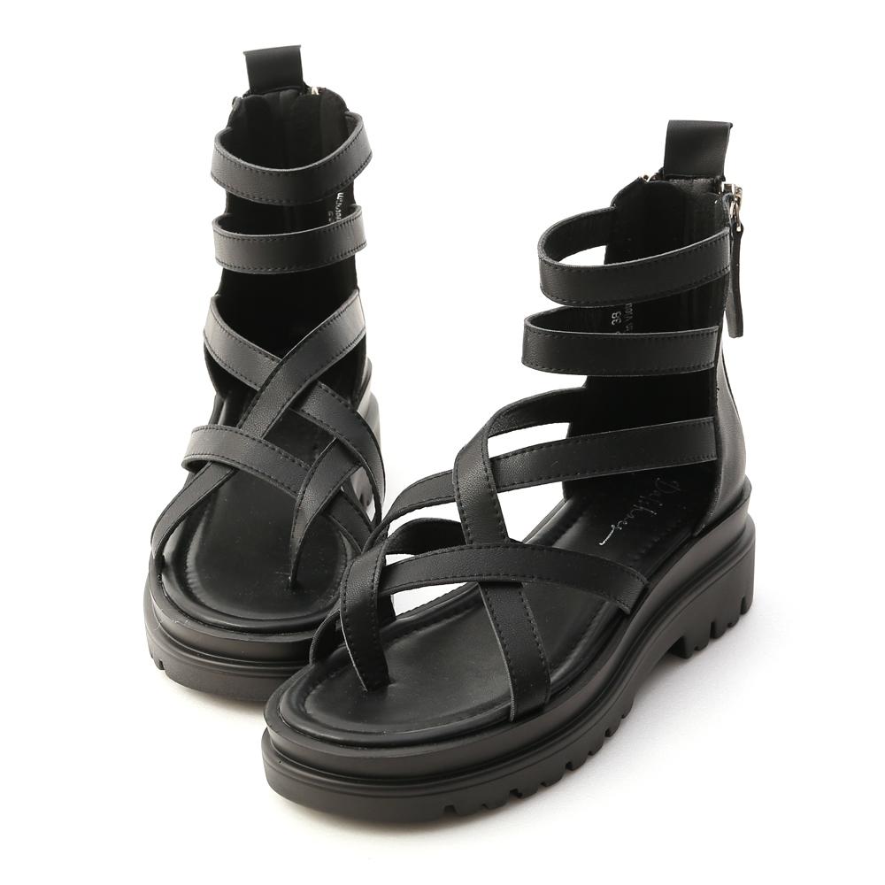 D+AF交叉夾腳厚底羅馬涼鞋