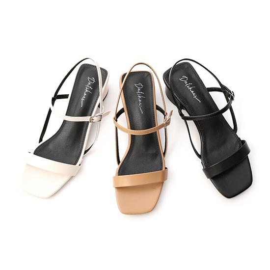 :D+AF一字方頭橢圓跟涼鞋 白色 杏色 黑色 一字低跟涼鞋
